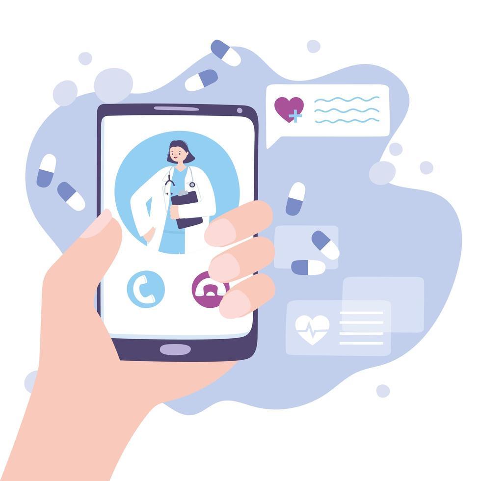 Telemedizin-Konzept mit Arzt auf dem Smartphone vektor