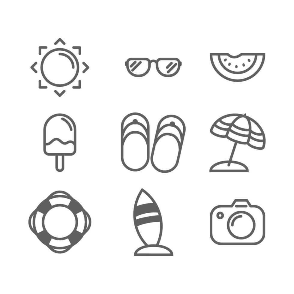 sommar ikonuppsättning. vektor