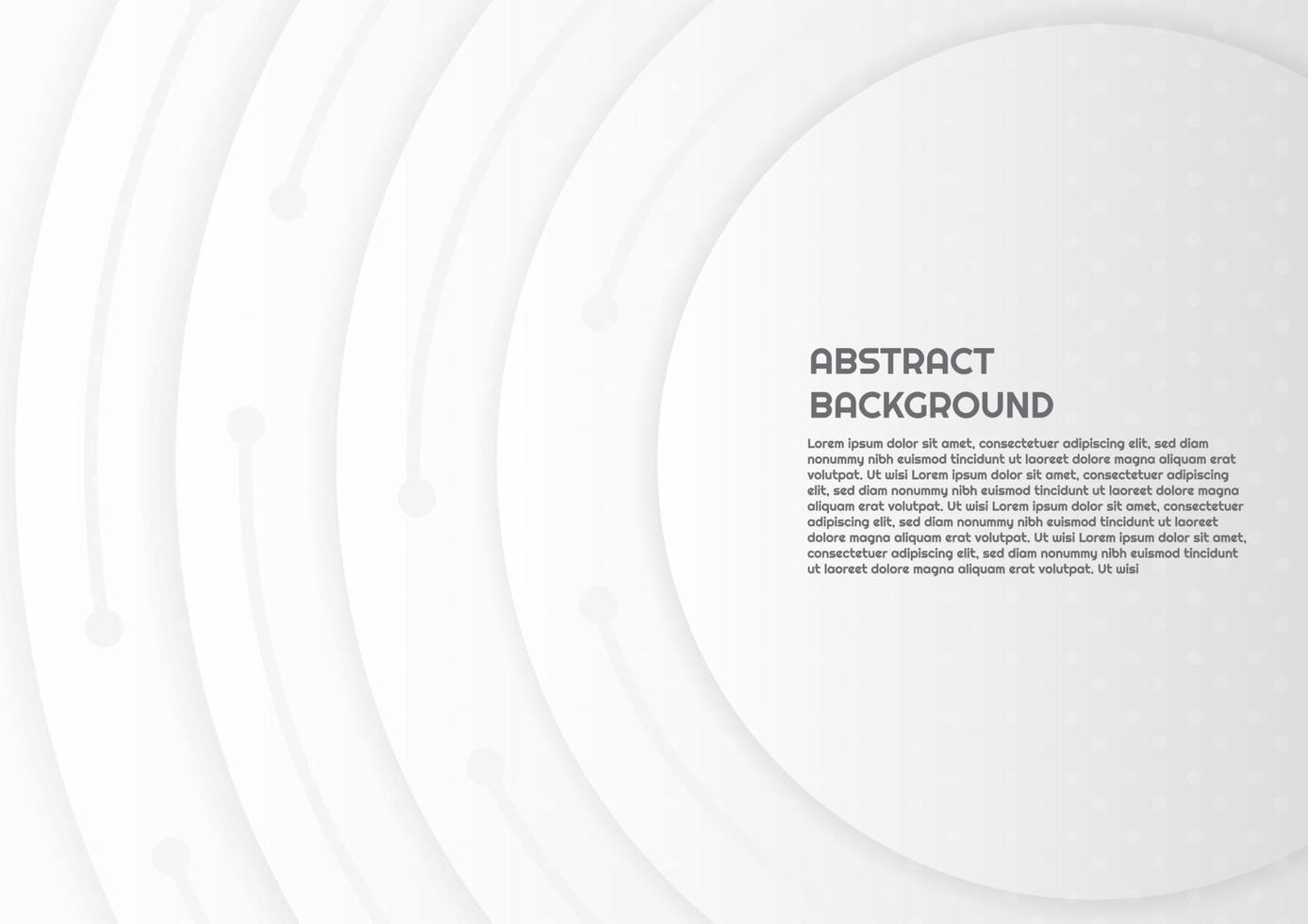 abstrakt koncentriska cirklar bakgrundsdesign i vit stil med utrymme för text vektor