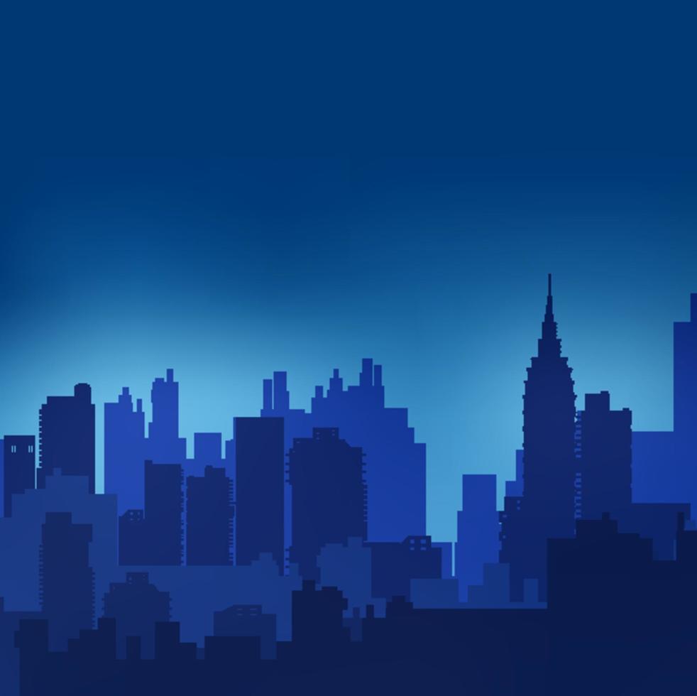 städtische Silhouette der Landschaft auf einem bunten Hintergrund des Sonnenuntergangs und des Sonnenaufgangs vektor