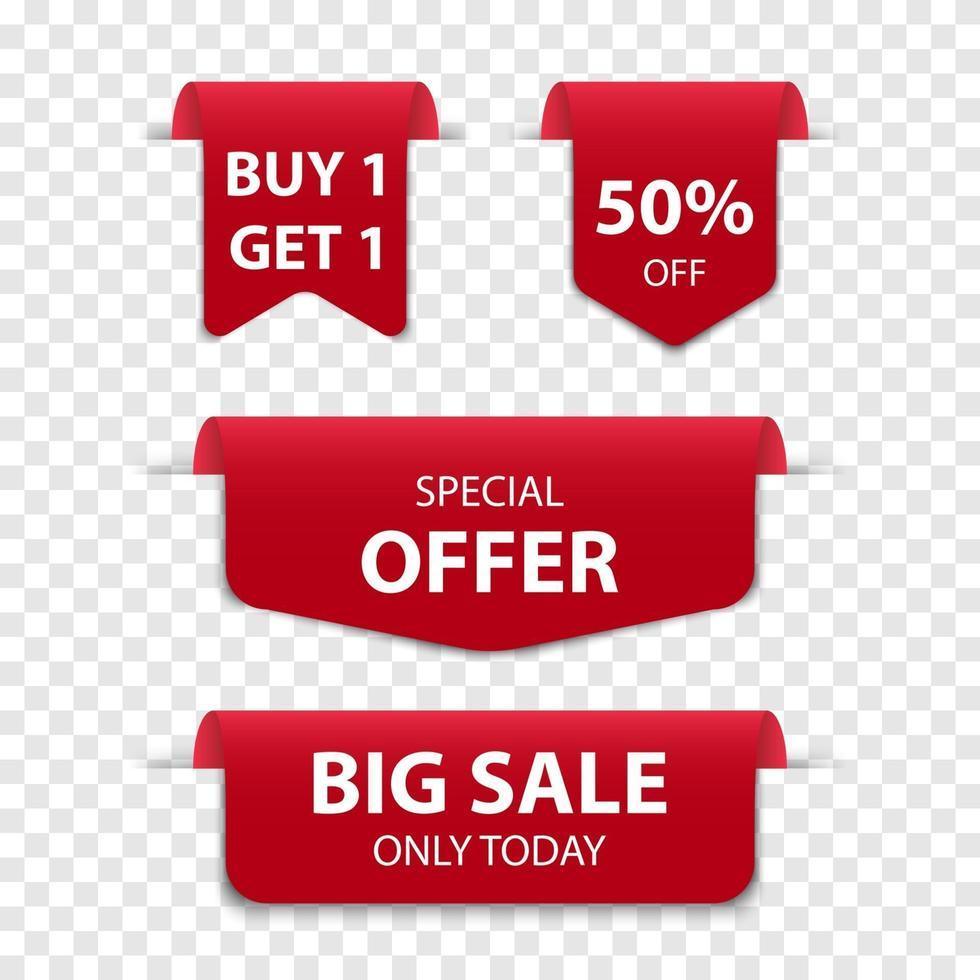 Isolerad röd försäljning för bokmärke 3d, vektorillustration vektor
