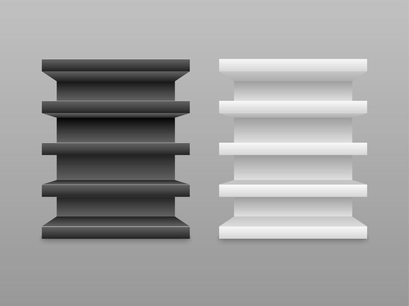 leere Schwarzweiss-Regale lokalisiert auf grauem Hintergrund, Vektorillustration vektor