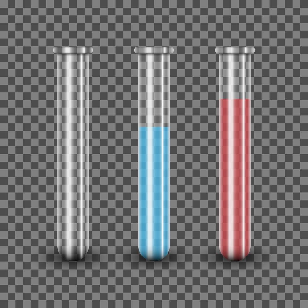 realistiskt provrör med blå och röd lösning, vektorillustration vektor