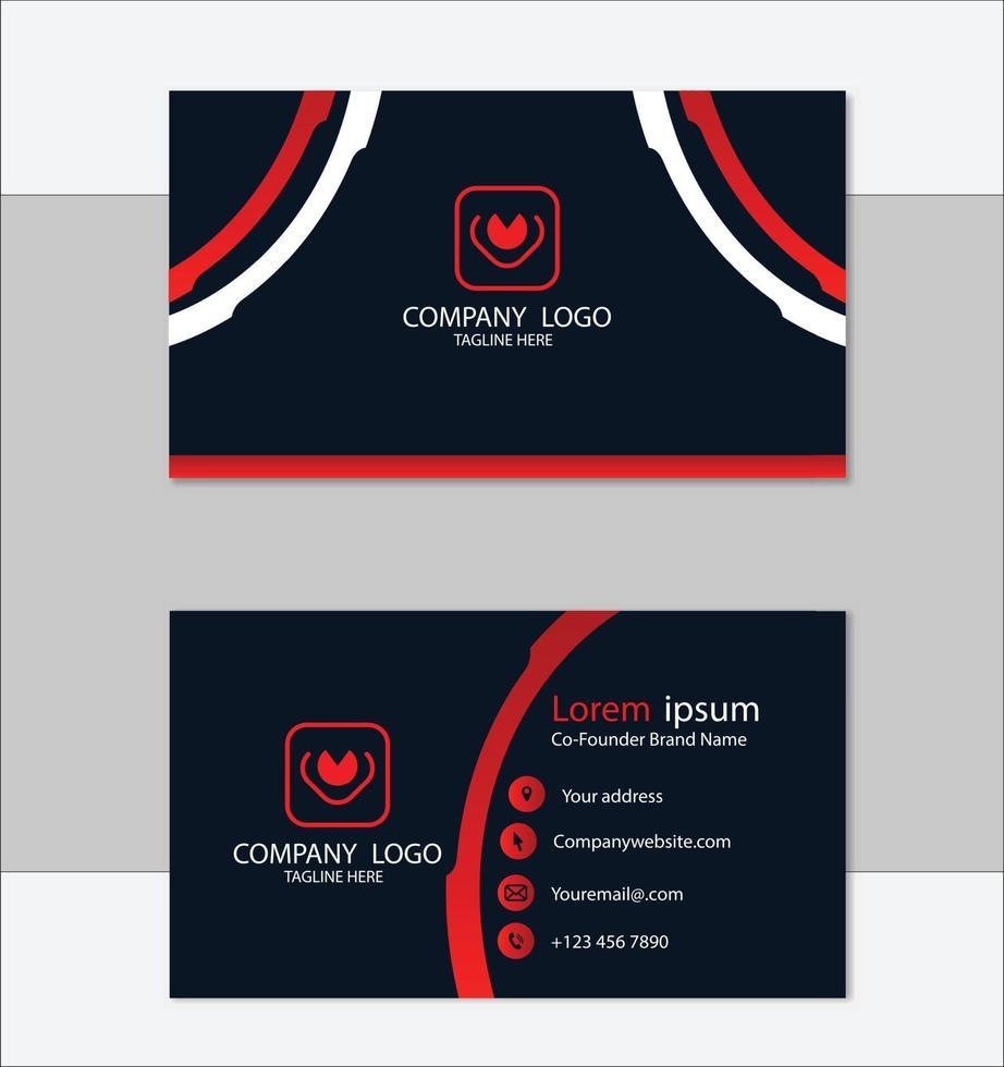 röd och svart geometrisk visitkortsmalldesign vektor