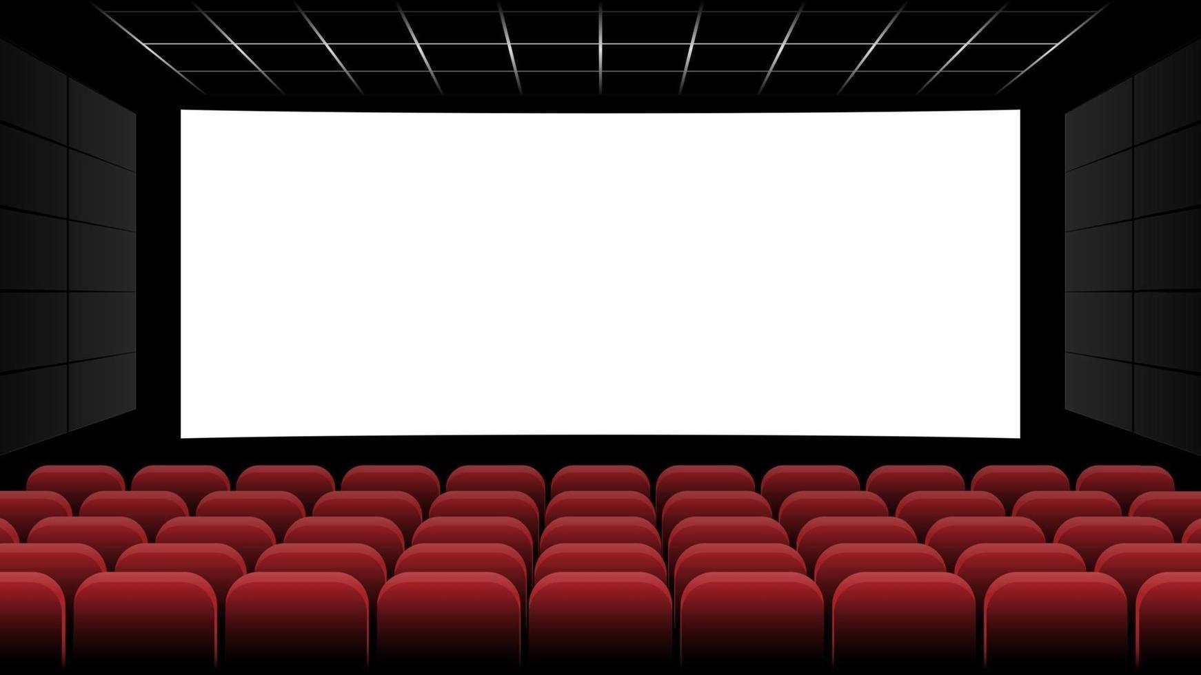 biografbiograf med blank skärm och röda platser, vektorillustration vektor
