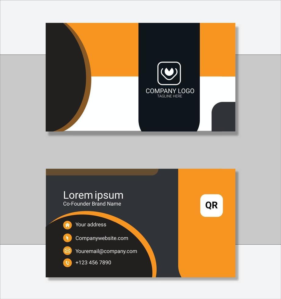 elegante gelbe und schwarze Visitenkartenschablone vektor