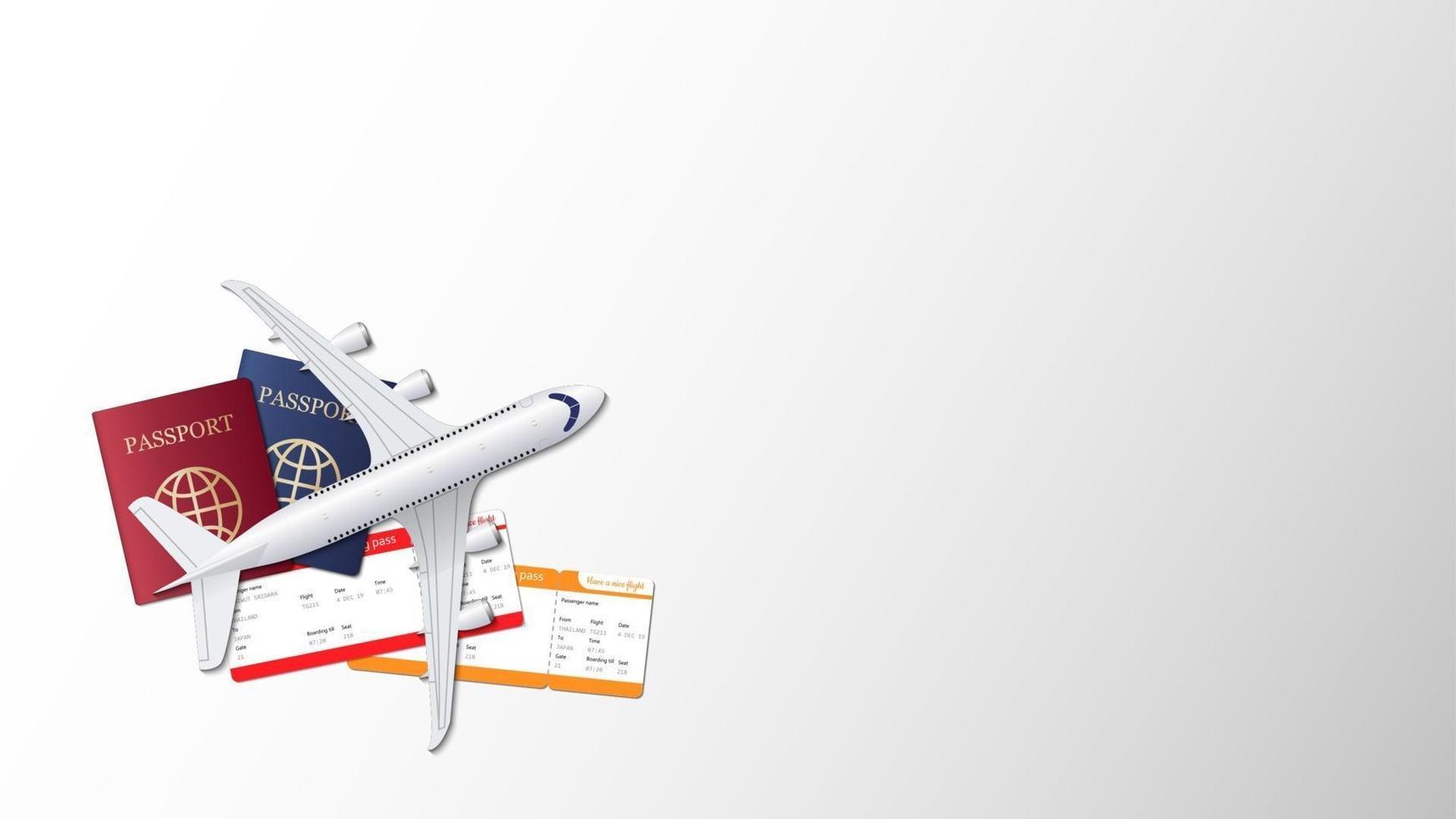 Flugzeug, Pass und Bordkarte auf leerem Hintergrund mit Kopienraum für Text, Reisehintergrund, Vektorillustration vektor