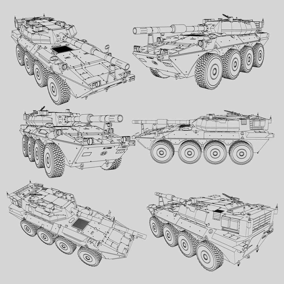 lineart för militära stridsvagnar vektor