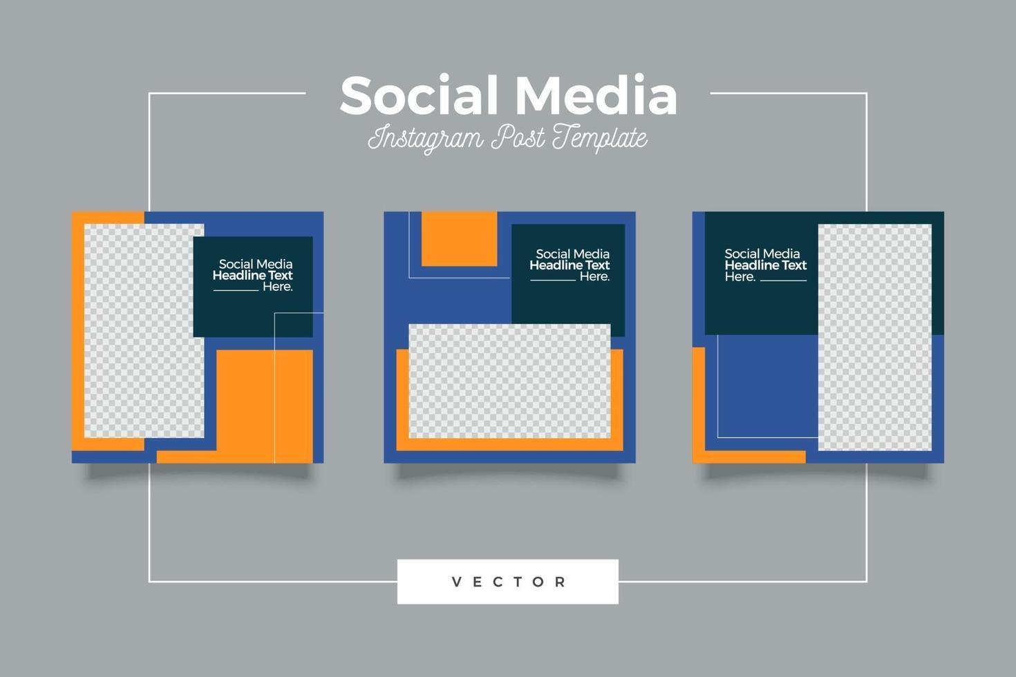 elegantes minimalistisches Social-Media-Vorlagenbannerset vektor