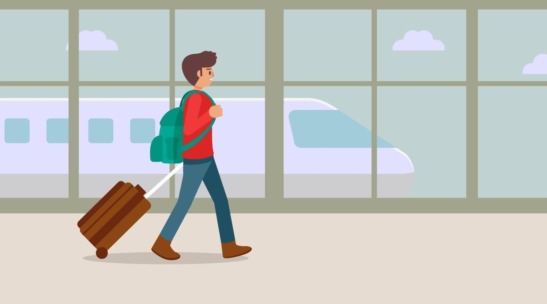 reisender junger Mann, der am Flughafenterminal mit Koffer, Vektorillustration geht vektor