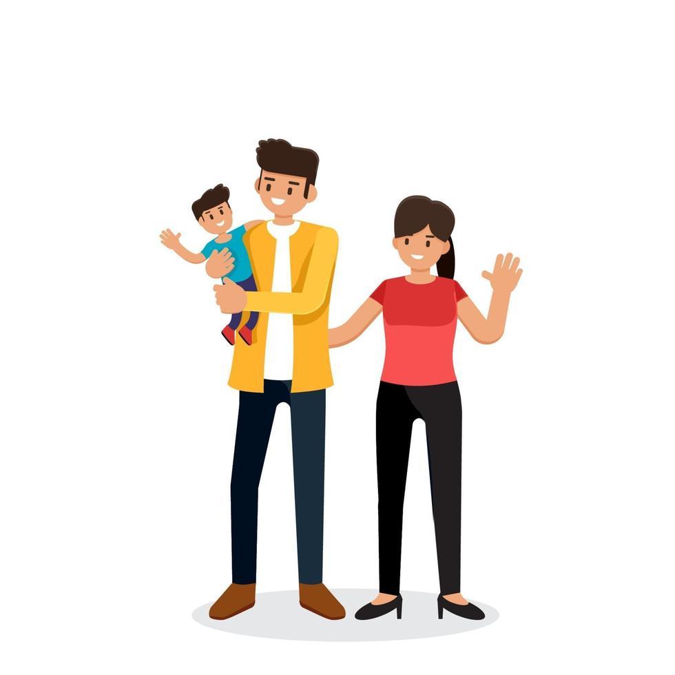 Familie, Mann, Frau und Sohn stehen zusammen, Ehemann und Ehefrau, Eltern mit Kind, Paar mit Baby, flache Designvektorillustration vektor