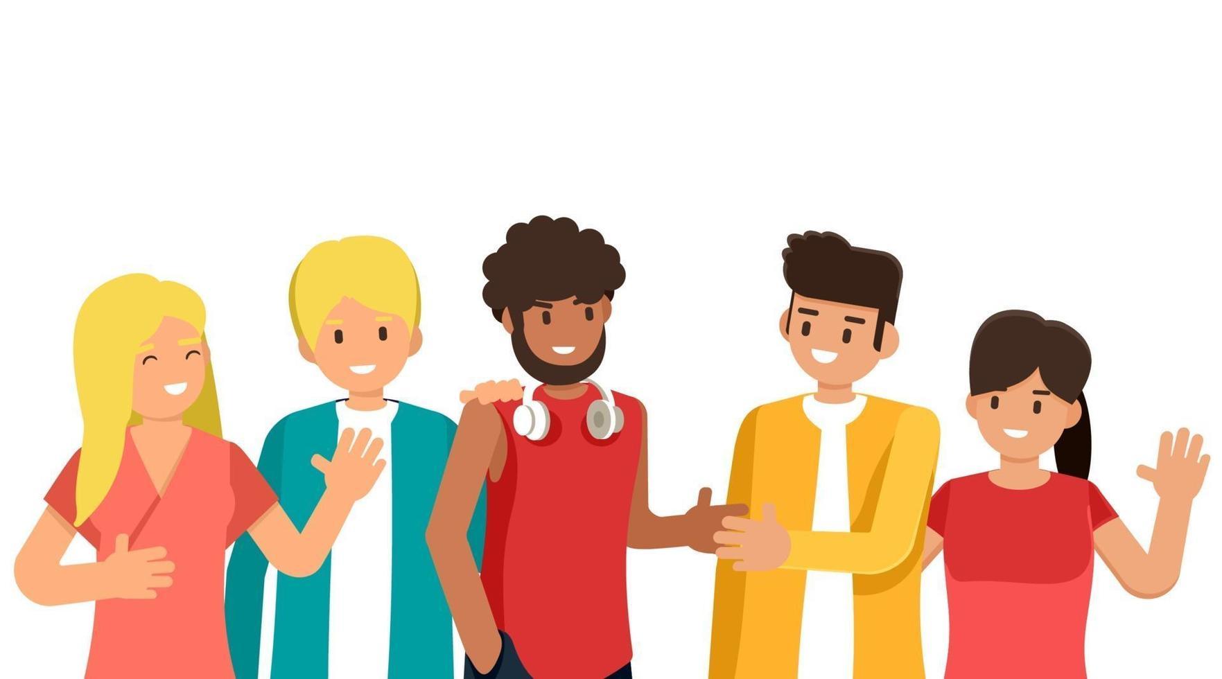 grupp ungdomar av olika raser och kulturer isolerad på vit bakgrund, platt seriefigurer, vektorillustration vektor