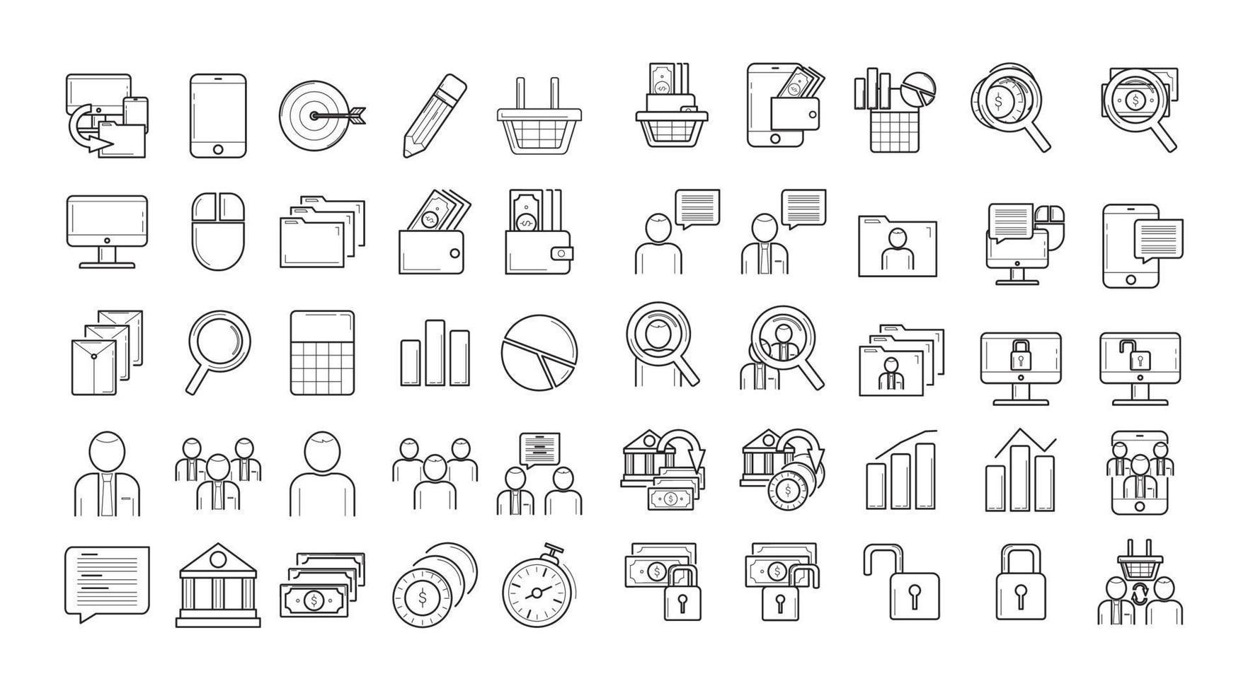 ikonuppsättning hög kvalitet för webbdesign och mobilappar på vit bakgrund vektor
