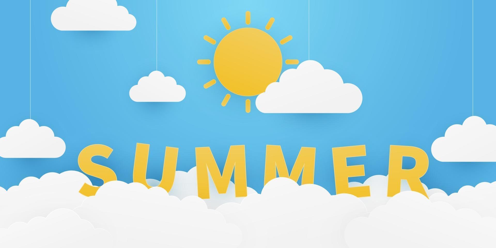 Sommerhintergrund mit Origami Sonne und Wolken hängen am blauen Himmel Hintergrund. Papierkunst und Bastelstil. Vektorillustration. vektor