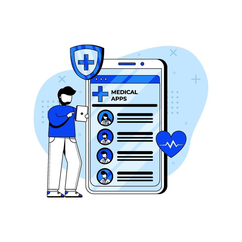 online läkare ikon koncept vektor