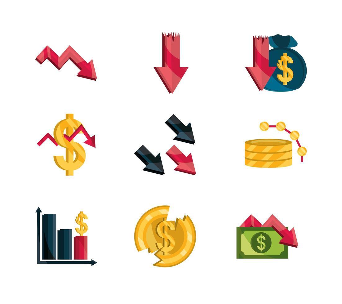 Finanzielle Geschäftskrise, Börsencrash-Symbolsatz vektor