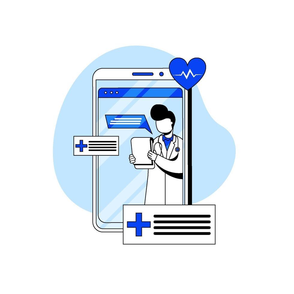 online läkare och vård ikon koncept vektor