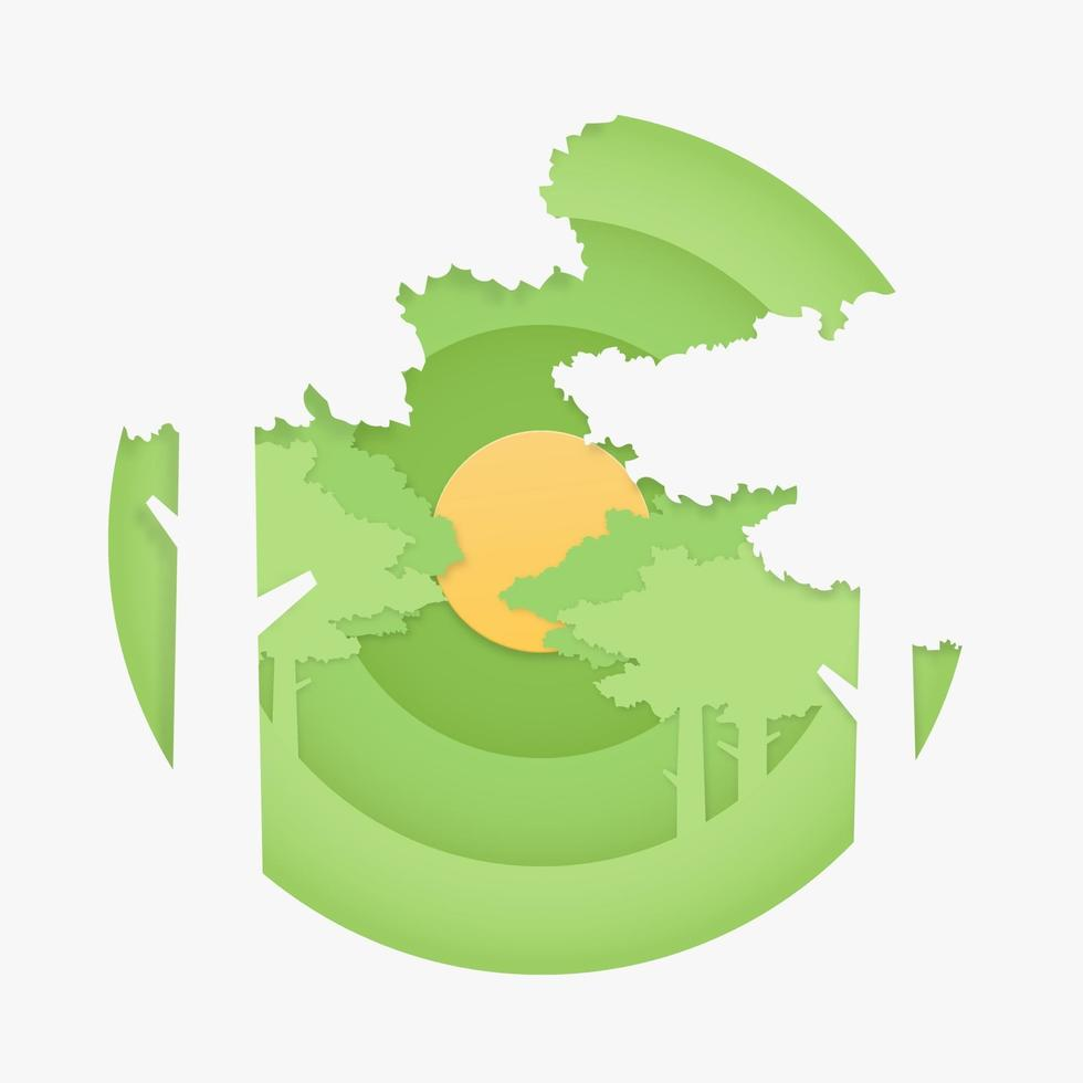 skogslandskap. natur koncept i pappersskuren stil. vektor illustration.