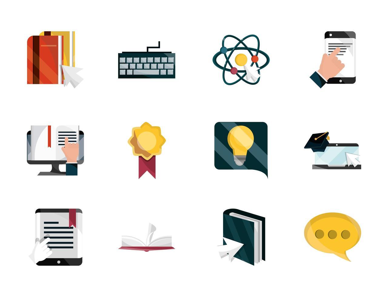 Online-Bildung Icon Set vektor