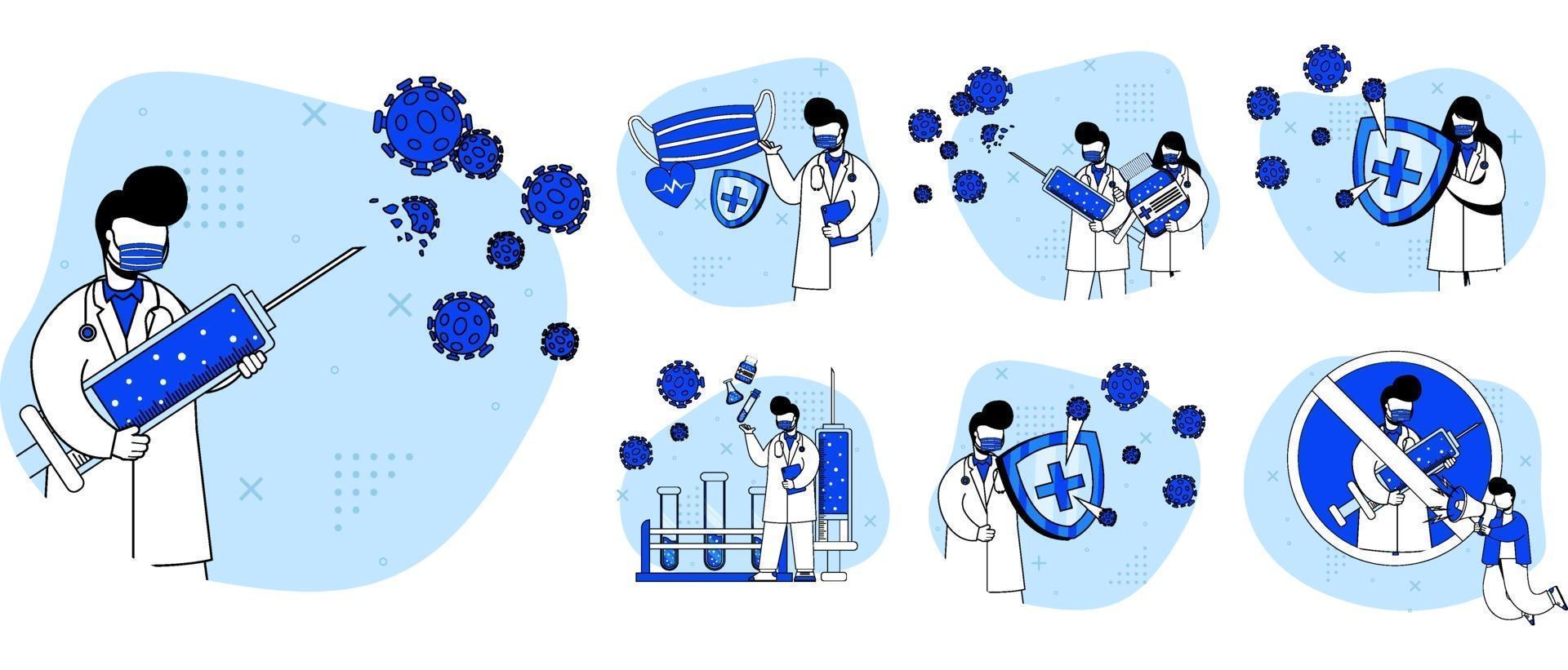 uppsättning av medicinskt virus vaccin ikon vektor
