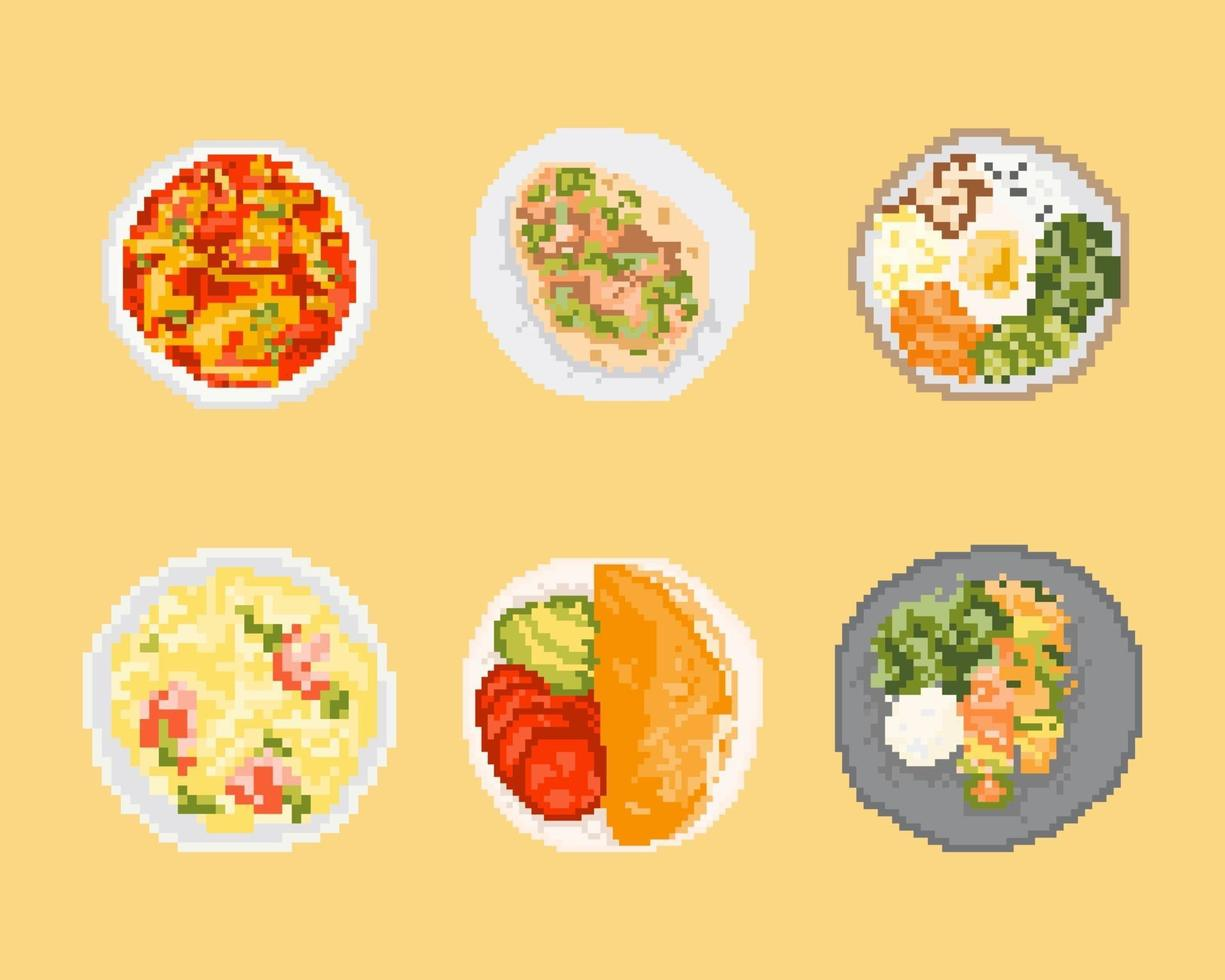 Satz von Lebensmitteln in Pixelkunst. 8-Bit-Kunstvektorillustration. vektor