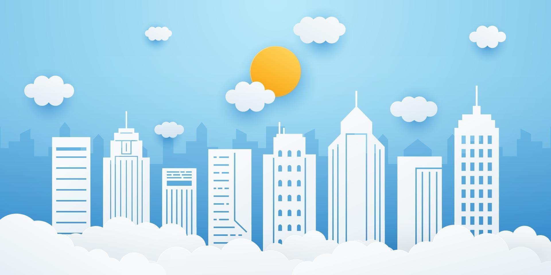 stadslandskap med byggnad, moln och sol på blå himmelbakgrund. stadsbild i pappersskuren stil. vektor illustration.