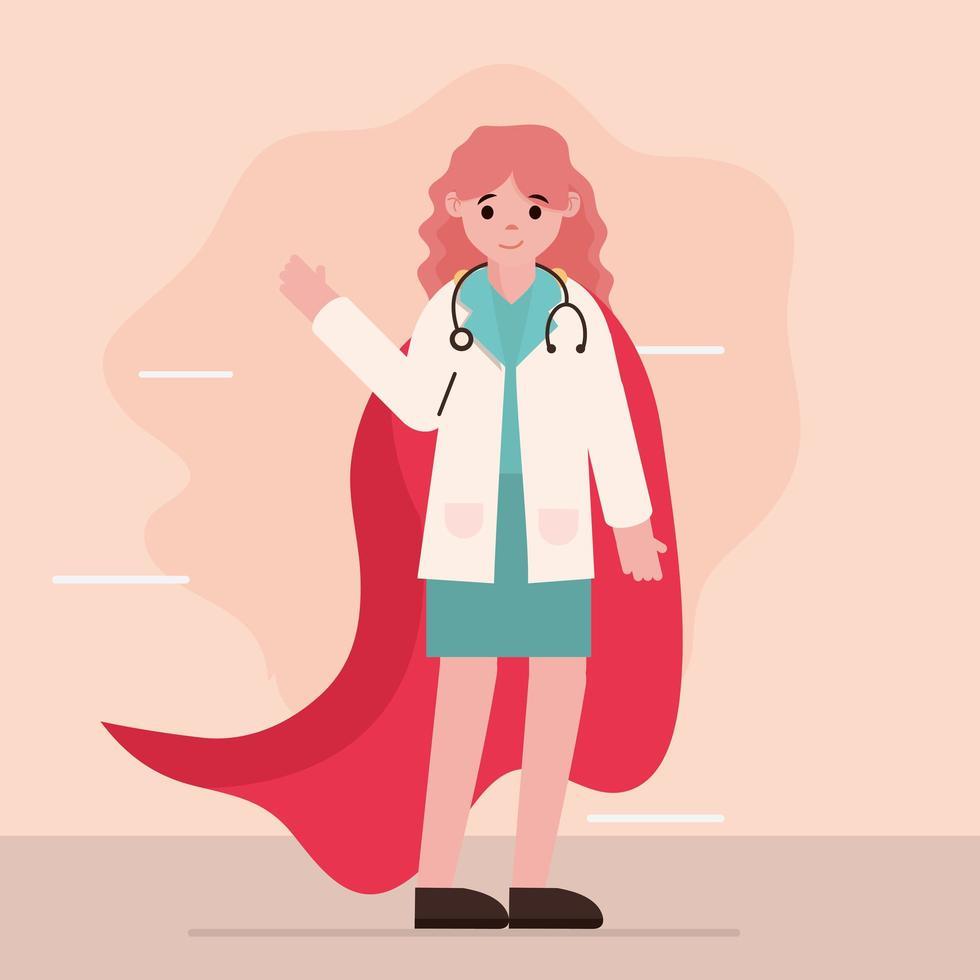 läkare som hjältinna vektor