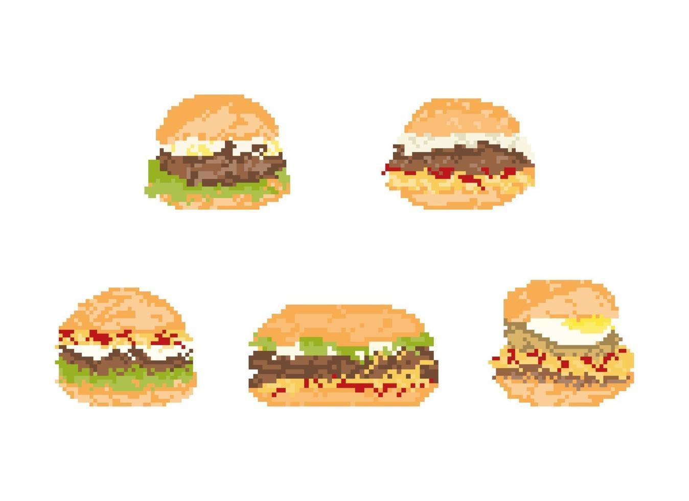 uppsättning hamburgare i pixelkonst. 8-bitars konstvektorillustration. vektor
