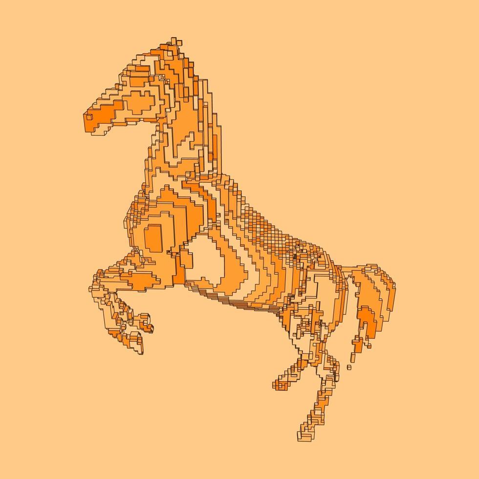 voxel design av en häst vektor
