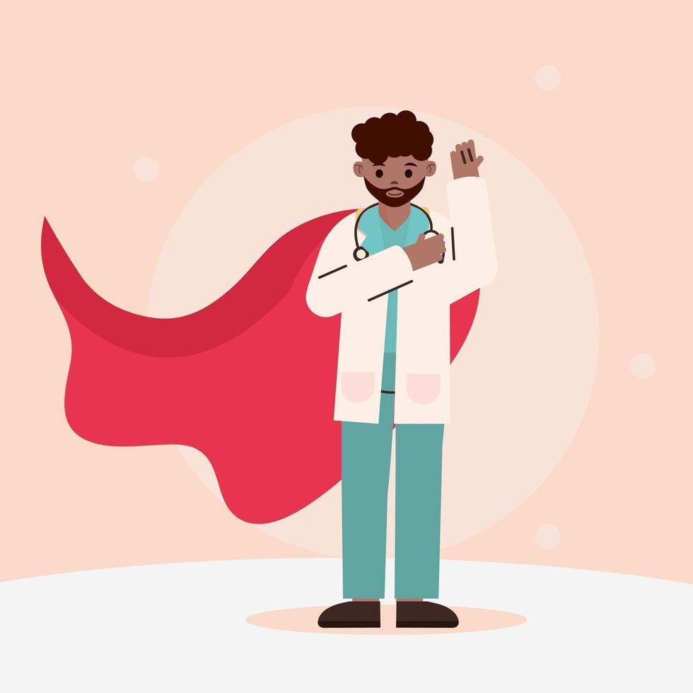 afro läkare som hjälte vektor