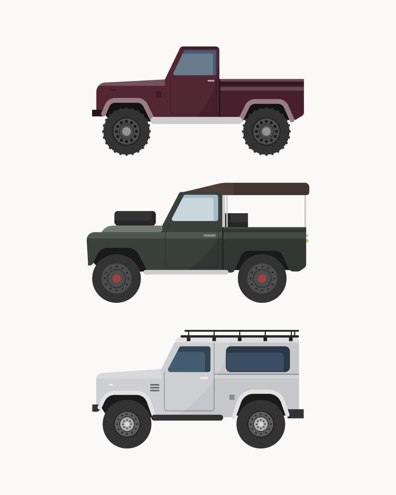 Satz Offroad-Geländewagen. Offroad-Fahrzeuge Vektor-Illustration. vektor