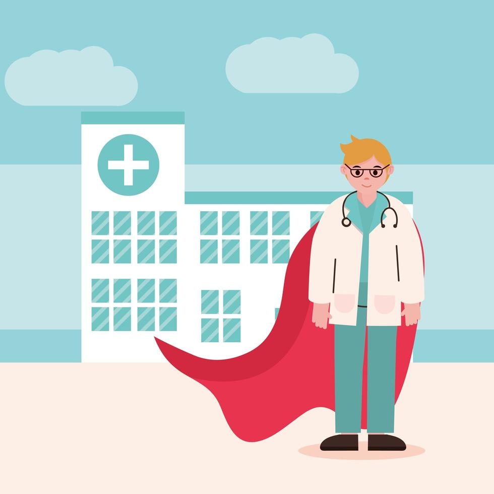 läkare som hjälte framför sjukhuset vektor