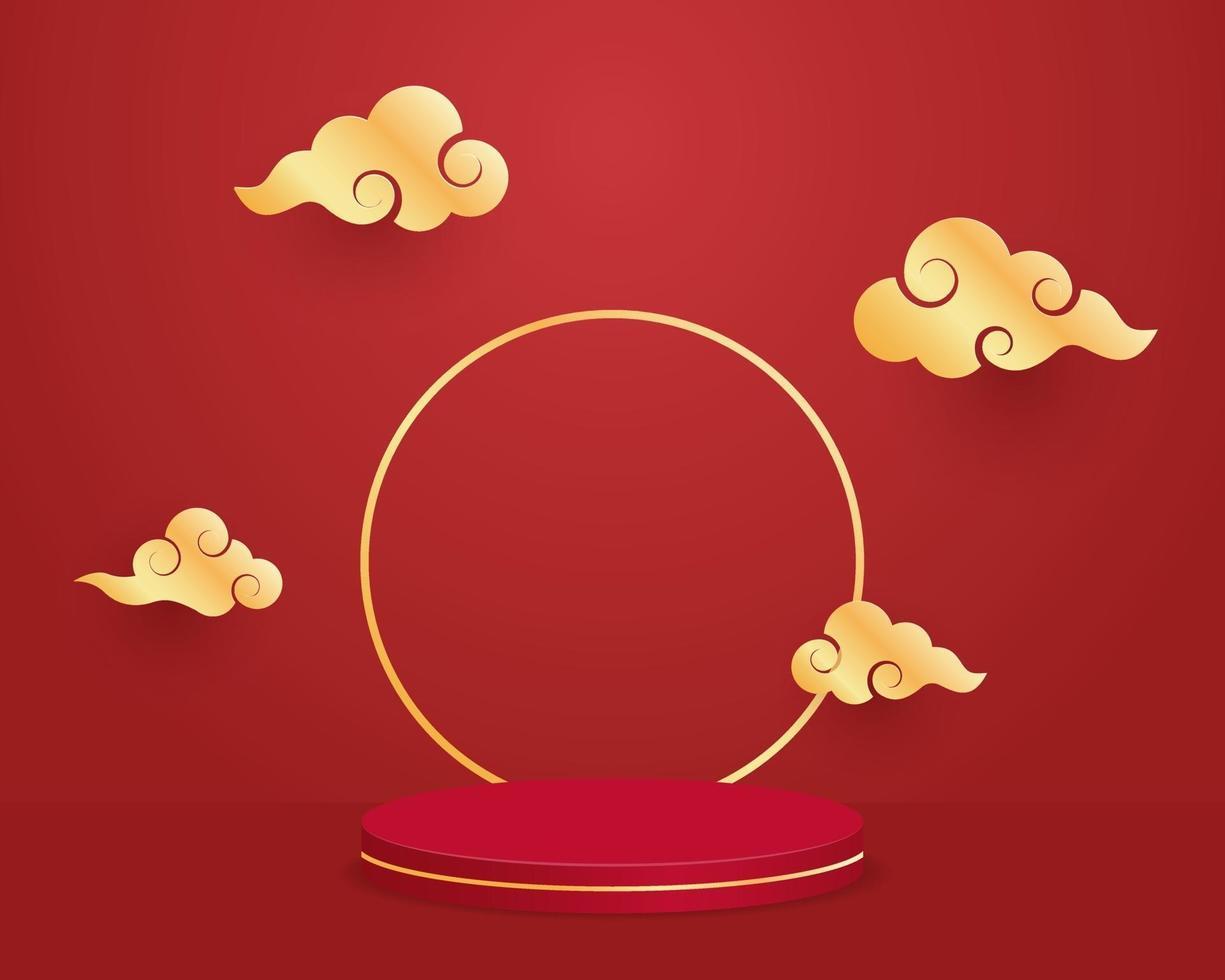 tom cylinder podium med moln på röd bakgrund. kinesiskt nyårskoncept. minimal scen med geometriska former. design för produktpresentation. 3d vektorillustration. vektor