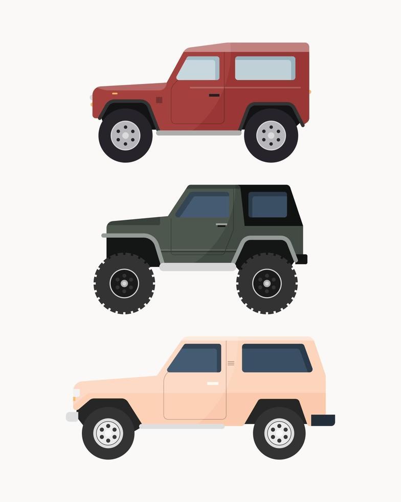 uppsättning SUV-bilar. off road fordon vektor illustration.