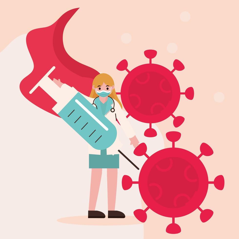 läkare som hjältinna med vaccin mot koronavirus vektor