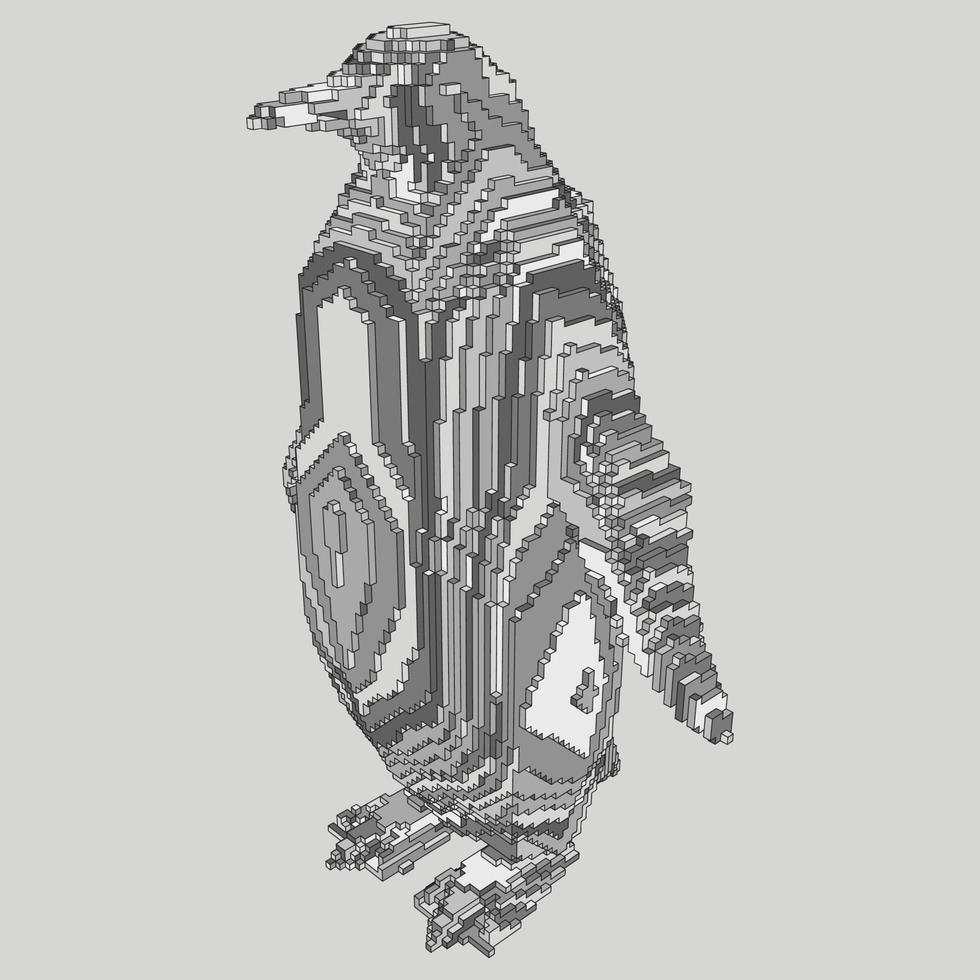 voxel design av en pingvin vektor
