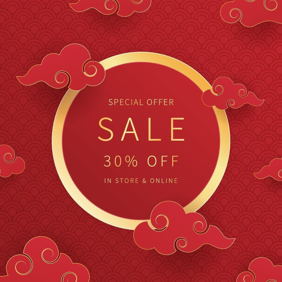 kinesisk nyårsförsäljnings marknadsföringsbanner. pappersskuren stil. trendig designmall för annonsering, sociala medier, affärer, modeannonser etc. vektorillustration. vektor