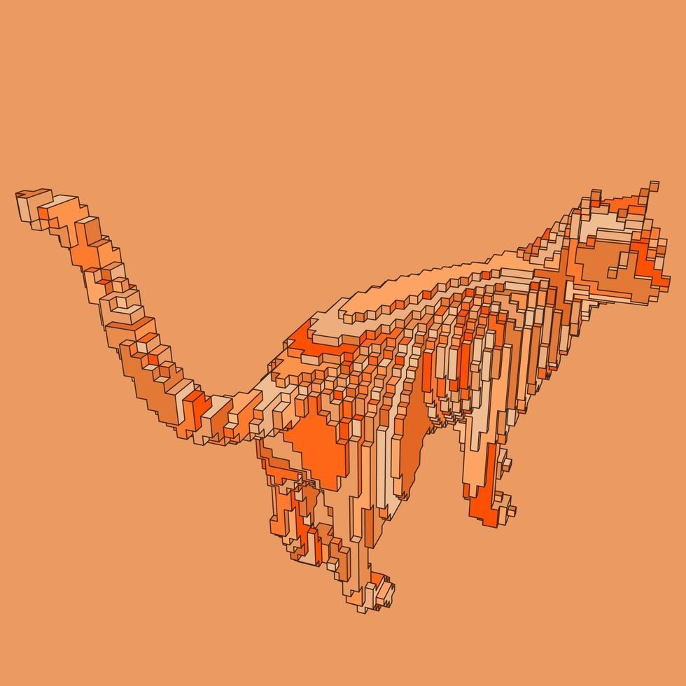 voxel design av en katt vektor