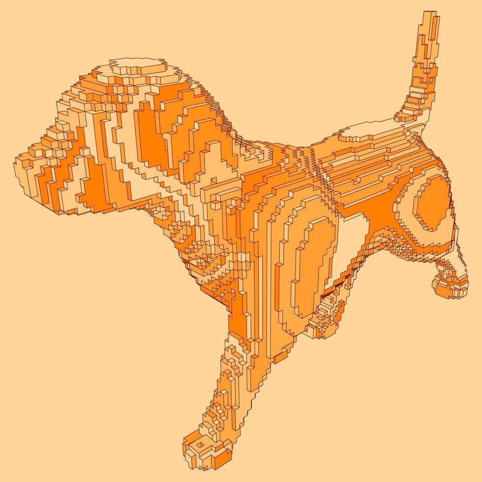 voxel design av en hund vektor
