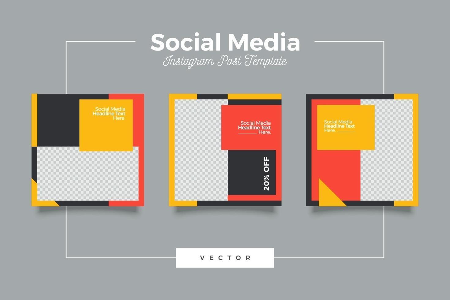 modern modeförsäljning sociala medier postmall vektor