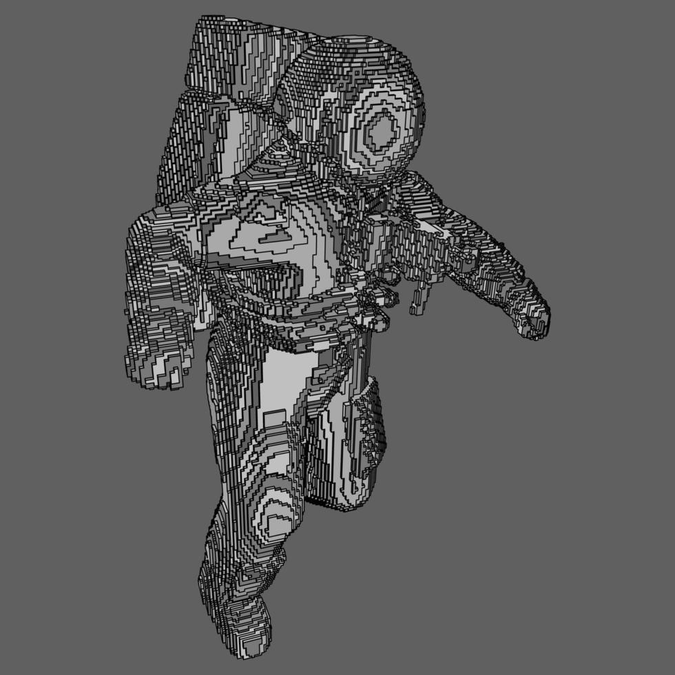 voxel design av astronaut vektor