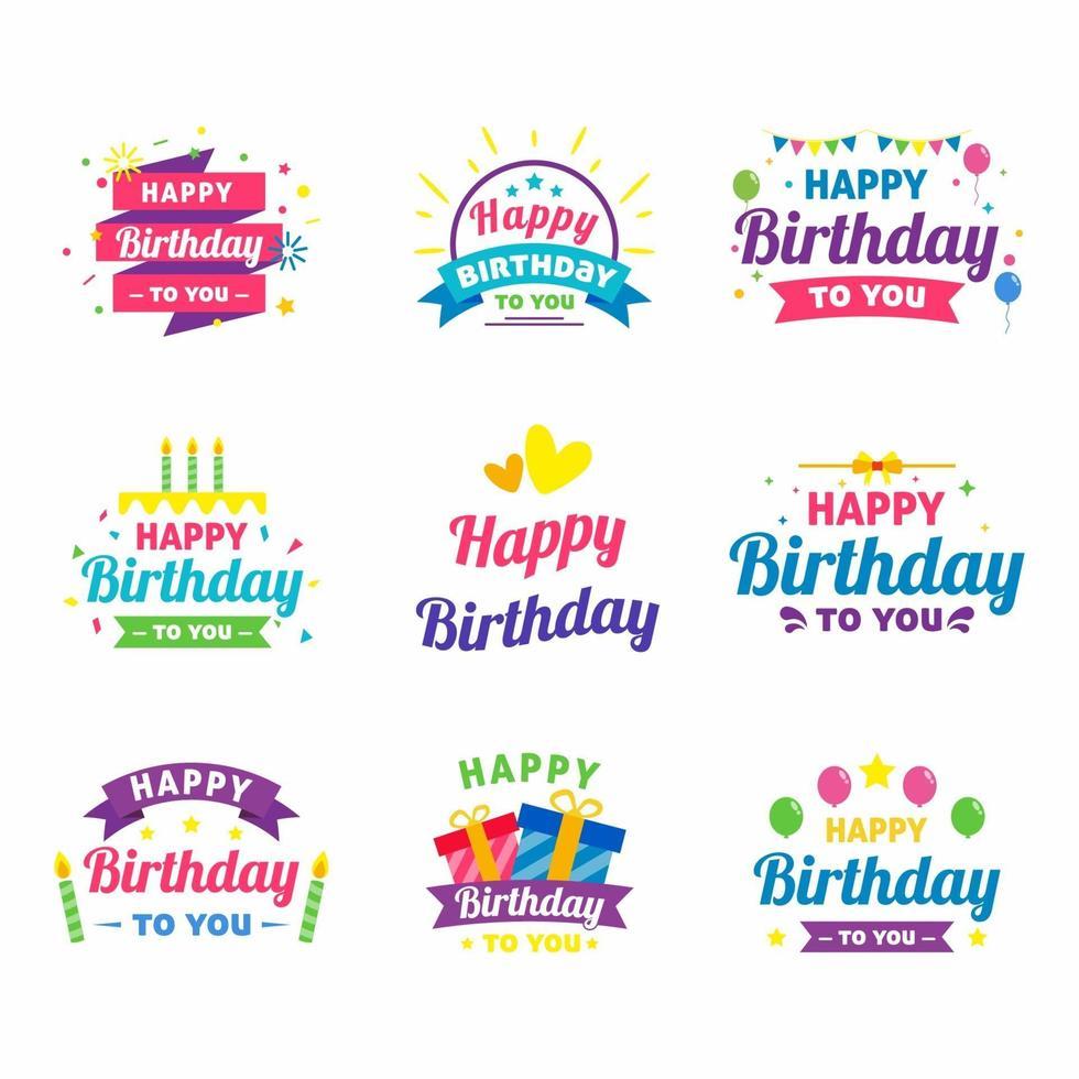 Grattis på födelsedagen klistermärken vektor