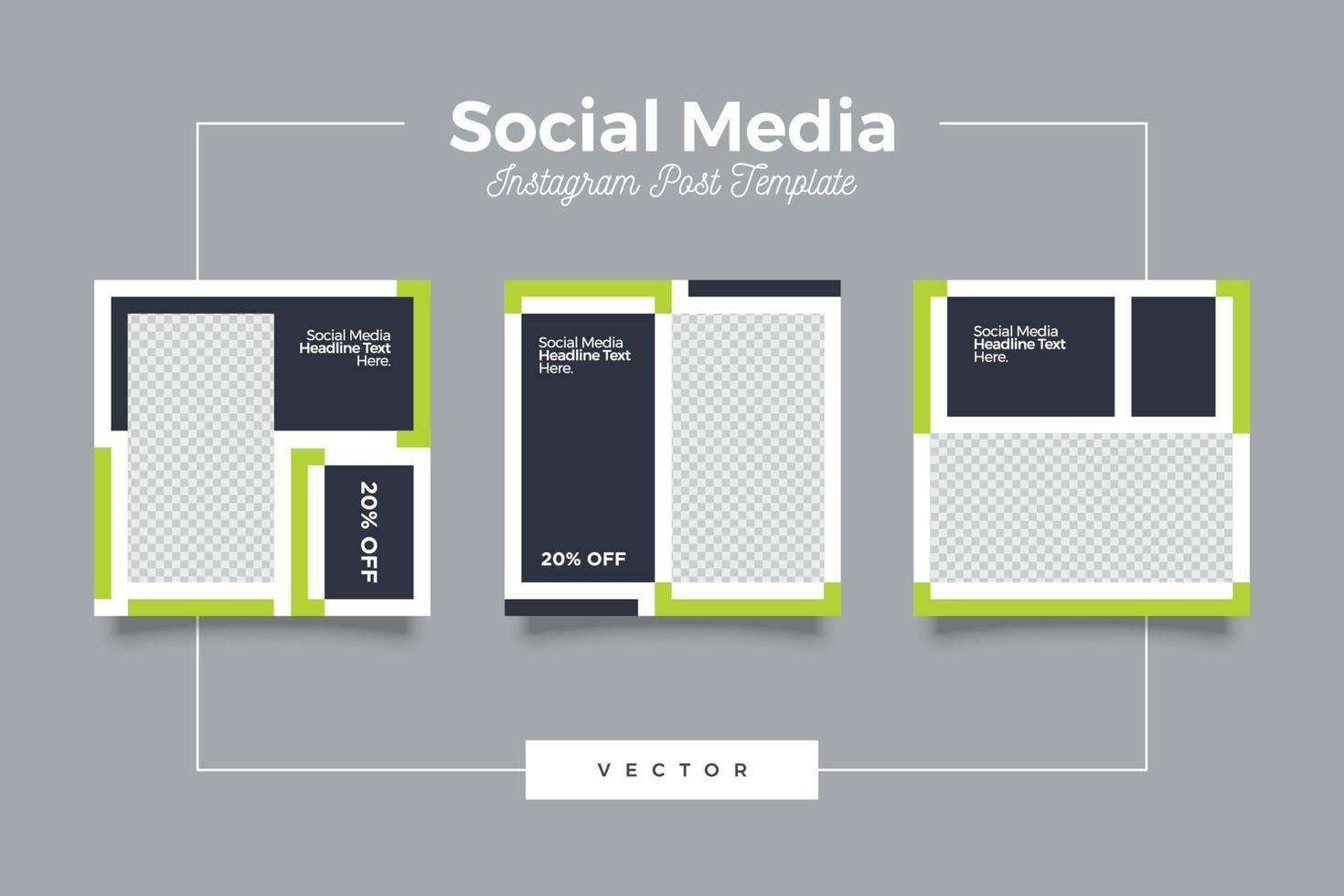 minimalistisk grön och mörk tema sociala medier mall vektor