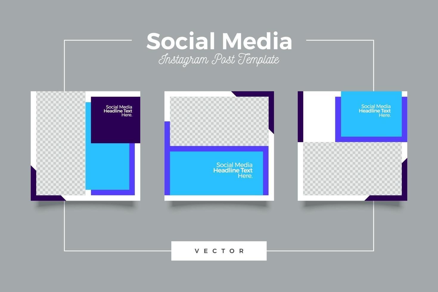 minimalistisk blå sociala medier postmall vektor