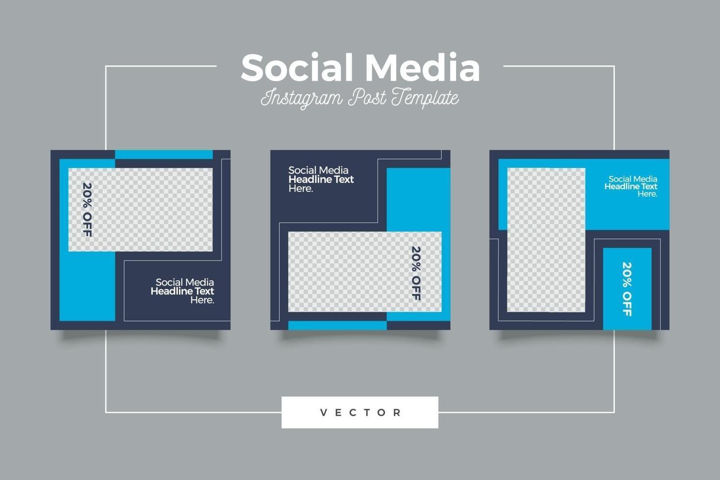 minimalistisk modern blå post för sociala medier vektor