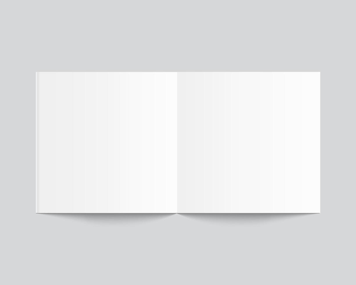 tom öppen bok, tidning och anteckningsbokmodell med mjuk skugga. mockup vektor isolerade. mall design. realistisk vektorillustration.