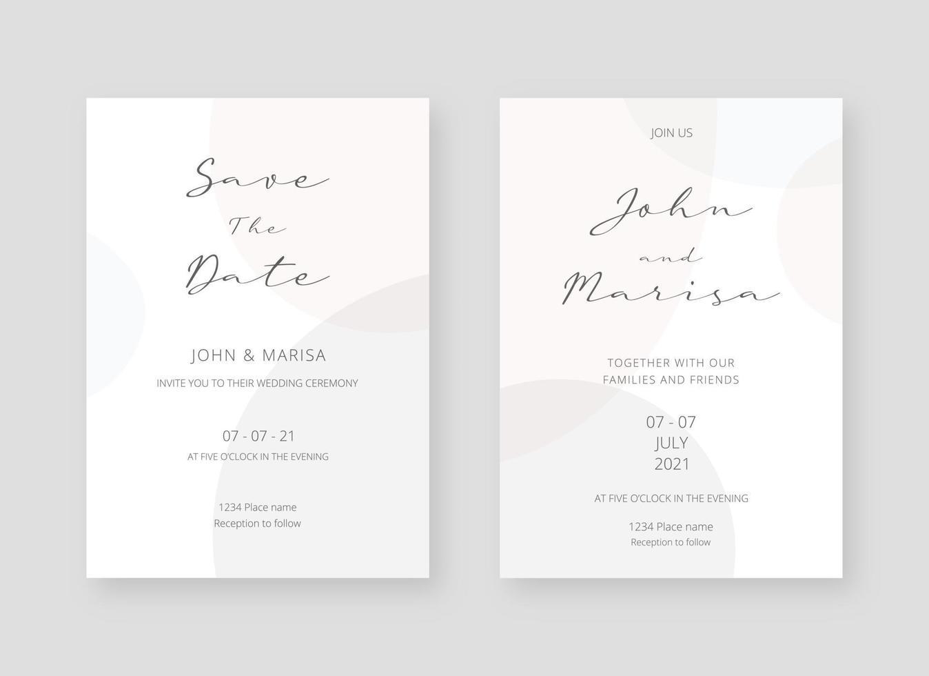 mall för inbjudningskort. uppsättning bröllop inbjudningskort mall design. vektor dekorativ design bakgrund.