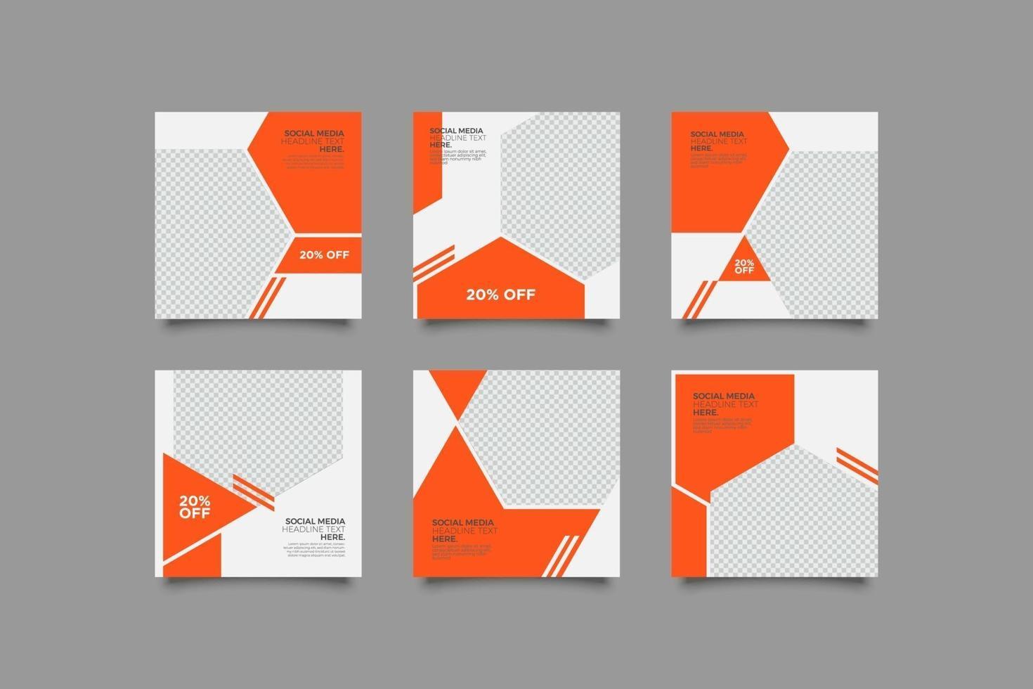 minimalistisk modern orange inläggsmall för sociala medier vektor