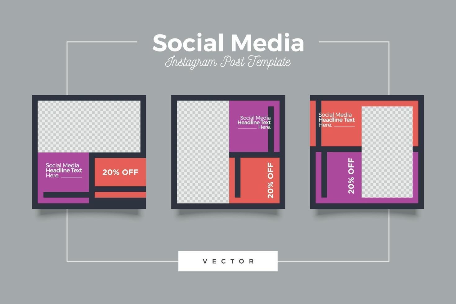minimalistisk mode media post mall vektor