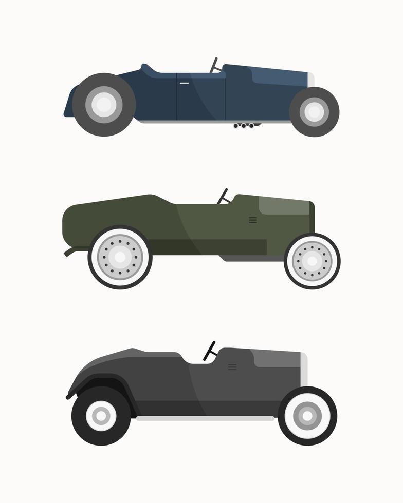 uppsättning klassiska bilar. vintage bilar vektorillustration. vektor